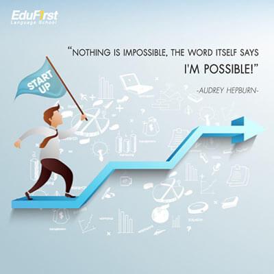 คําคมภาษาอังกฤษ แปลไทย  life Quote - Nothing is impossible, the word itself says 'I'm possible'! - เรียนภาษาอังกฤษ ออนไลน์ โรงเรียนภาษาอังกฤษ EduFirst