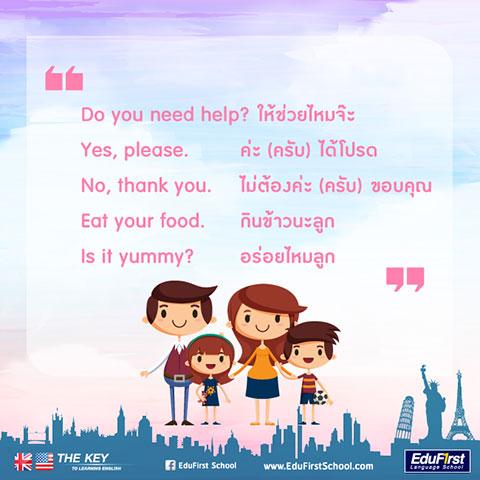 ฝึกประโยคภาษาอังกฤษกับลูก ถาม-ตอบภาษาอังกฤษ