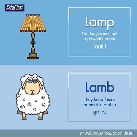 เรียนภาษาอังกฤษ ฝึกเขียน คําศัพท์ภาษาอังกฤษ ที่มักเขียนผิด Lamp และ Lamb - Lamp (แลมพฺ) แปลว่า โคมไฟ, Lamb (แลมบ์) แปลว่า ลูกแกะ