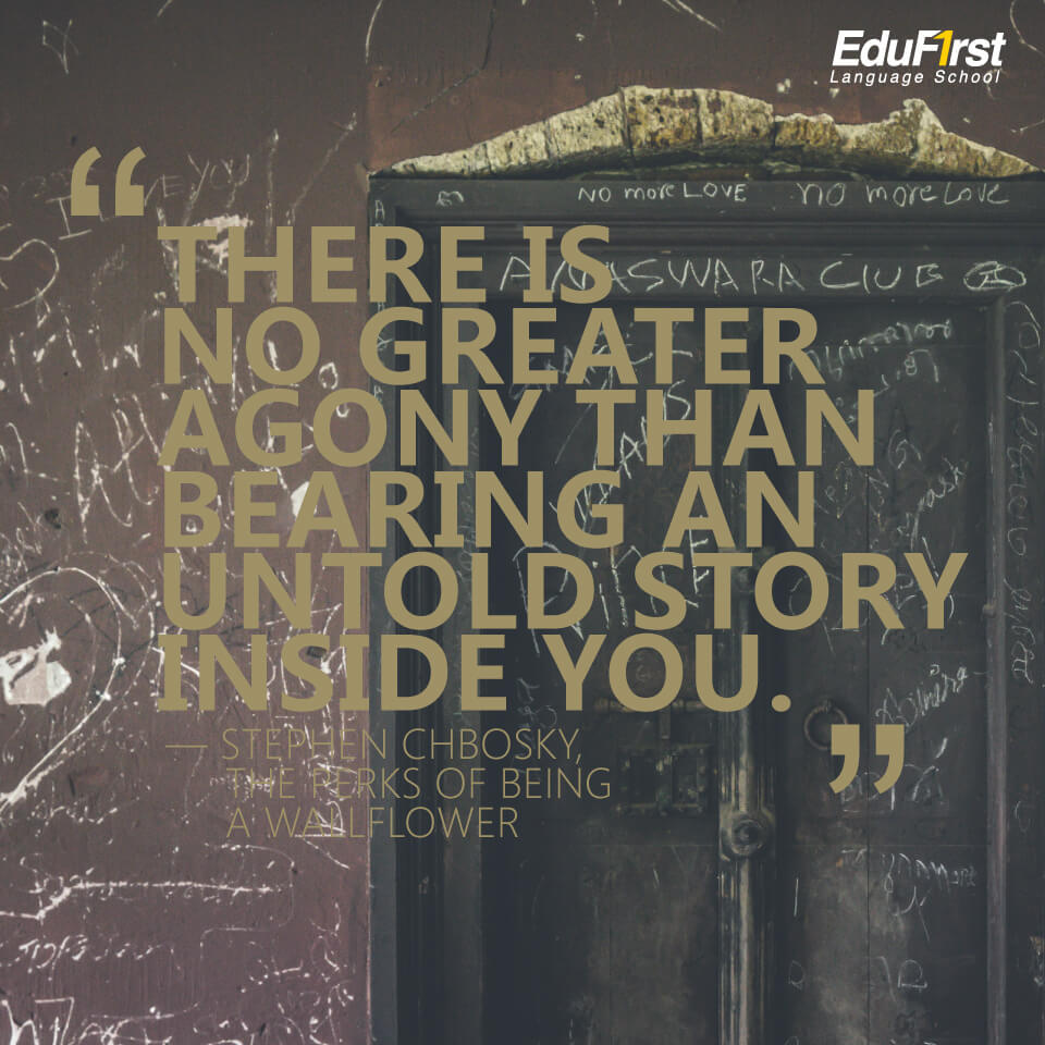 """คำคมภาษาอังกฤษสั้นๆ ความหมายดี inspirational quotes """"There is no greater agony than bearing an untold story inside you."""" คำคมของ Maya Angelou แปลว่า ไม่มีความรวดร้าวใดยิ่งใหญ่เกินกว่าการเก็บเรื่องราวที่ไม่สามารถเล่าออกไปได้ไว้ภายใน - เรียนภาษาอังกฤษ บทความของ สถาบัน EduFirst"""