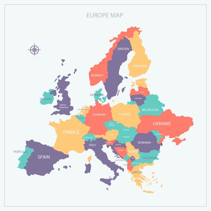 รายชื่อประเทศในทวีปยุโรป (Europe) มีทั้งหมด 44 ประเทศ
