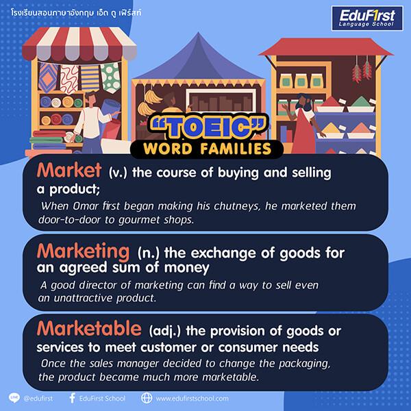 TOEIC word families Marketing - รวมคำศัพท์ TOEIC ที่จำเป็นในการสอบ สถาบันสอนภาษา เอ็ด ดู เฟิร์สท์
