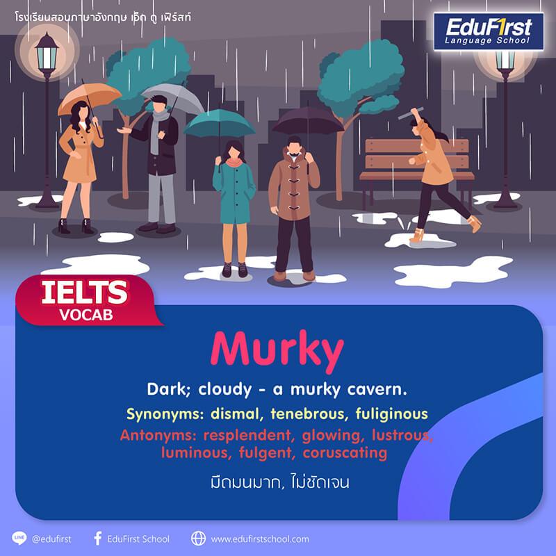 คำศัพท์ IELTS vocabulary murky  มืดมนมาก, ปกคลุมไปด้วยหมอก, ไม่ชัดเจน, มอ, มัว, เคลือบคลุม  - คอร์สเรียน  IELTS เตรียมสอบ การันตีคะแนน พร้อมรับรองผล โรงเรียนสอนภาษาอังกฤษ EduFirst